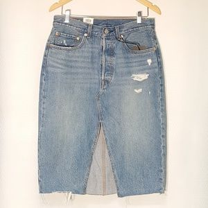 Levis Button Fly Deconstructed Distressed Skirt